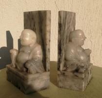 Keleti, Kína stb faragott márvány szobrok, Buddha szerencse könyvtartó gyönyörű!