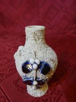 Mini porcelán váza, kobalt kék levél díszítéssel, magassága 8 cm.