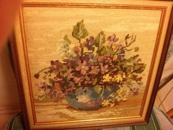 Hangulatos gobelin kép modern keretben, hibátlan, csendélet, virágcsokor 2