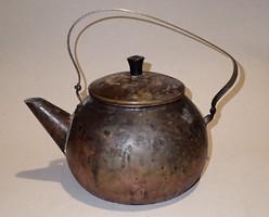 Nagyon régi antik réz bronz fém füles teáskanna teás kanna kancsó kiöntő