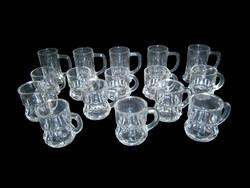 16 db (6 + 2 x 5) füles pálinkás vagy likőrös üveg pohár