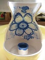 Kék virágos shabby kancsó forma  kézműves sétáló gyertyatartó