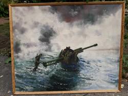 Háborús jelenet-festmény.