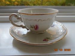 Barokkos Zsolnay,aranytollazott dombormintákkal,apró virágos kávés csésze alátéttel