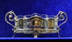 Ezüst  asztalközép üveggel, kínáló