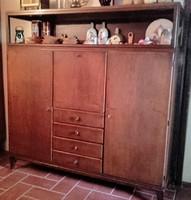 Retro mid century ,tömör fa,vitrines szekrény