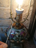 Antik Zsolnay lámpa, asztali lámpa. Virágmintás gyönyörű festés, réz szerelékkel! Luxus antik lámpa