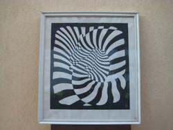 Vasarely  litografia  , 63 x 71 cm rámával  , a hatvanas évekből