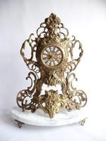 Bronz rózsás kandalló óra márvány talpazaton