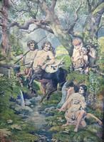 Nimfák erdeje- nagyméretű akvarell(99x72cm) Benyák jelzéssel 1927
