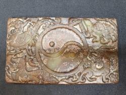 Jin-Jang, Főnix Madár, Fu Kutya és Teknős Motívumos Jáde Tábla 117 gramm