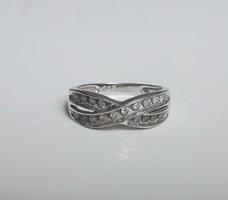 Negyed karátos  fehér arany gyémánt gyűrű, kis méret