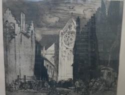 Sir Frank Brangwyn: Szent Miklós templom -nagyméretű rézkarc másolat