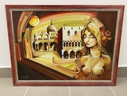 Velencei hölgy - Fassel Ferenc festmény