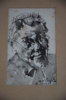Holló László önarckép, tus akvarell