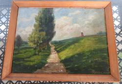 Győri E: Hazafelé - olaj / fa festmény