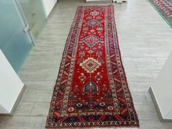 Antik 100 éves iráni Heriz  91x320 kézi csomózású gyapjú futó szőnyeg KZM_313