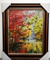 Czinóber - A sziklafal titka ( 28 x 36, olaj, gyönyörő, új keretben )