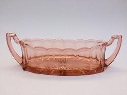 Art deco füles üvegtál régi rózsaszín kínáló tál 31 cm