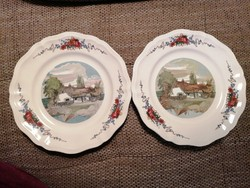 2 db Sarreguemines tányér, H. Loux festménye alapján készült mintával. Hibátlanok!