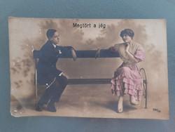 Régi képeslap 1918 női férfi fotó