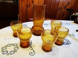 Bohémia repesztett üveg italos készlet 6 db-os, borostyán színű