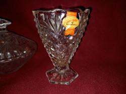 430 Ólomkristály váza és bonbonier Anna hütte 11 cm magas a váza 12 cm széles a bonbonier
