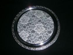 J_095 Antik ezüst színű fémkeretes üvegtálca csipke betétes tortatál 34 cm átmérő