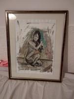 Festett kép, festmény, olajfestmény olaj kép papíron  women act, Lukacs