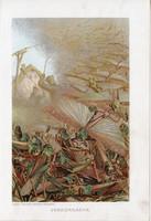 Vándorsáska, litográfia 1907, színes nyomat, eredeti, magyar, Brehm, állat, sáska, rovar, Egyiptom