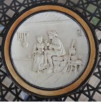 Johann Maresch antik falitányér : Zsáner jelenettel