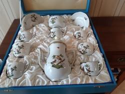 Herendi 6 személyes Rothschild  mintás kávéskészlet,eredeti dobozban