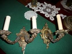 Egy szimpla és egy dupla antik , bécsi barokk réz falikar párban, egyben eladó