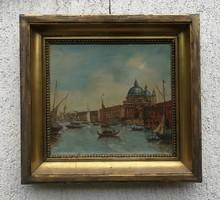 Velencei hangulatos festmény, Dunay János, különleges Szent Márk tér, gondolák!