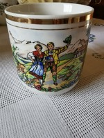 Jelenetes cseh porcelán bögre