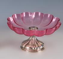 Ezüst asztalközép rózsaszín üveggel