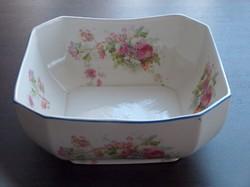 Nagyon szép és érdekes nyolcszög alakú porcelán mélytál, virágokkal díszített