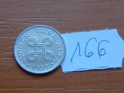 FINNORSZÁG 1 MÁRKA MARKKA 1959 91% Iron, 8% nickel, 1,2% carbon  166.
