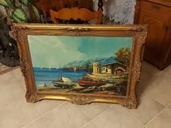 Antik meseszép festmény tengerpart! 110x80cm!!!