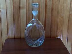 Üveg, likőrös, pálinkás lapos, dugós kiöntő