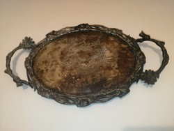 Antik, szélén áttört, súlyos tálca - ón/alpakka/ezüstözött/ezüst???- 1 forintról, garanciával.