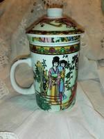 Gyógyfüves tea készítő bögre,csésze szűrőbetéttel,tetővel.