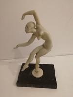 Antik, art-deco akt szobor- táncosnő - 1 forintról, garanciával.