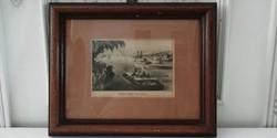 New York Hudson folyó képeslap fa keretben 1870 ből