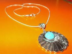 Amulett Türkenit köves Tibeti Ezüst kézműves uniszex Nyaklánc
