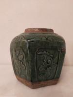 Antik kínai tea tartó terrakotta edény peremén egy kis csempüléssel gyűjteményi darab Ázsiai Kína