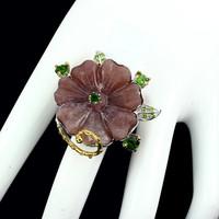 Egyedi virágfaragás Aventurine 28x27mm drágakövek 925 ezüst gyűrű méretű 58 - 59