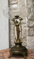 Szecessziós szobros kínáló, asztalközép réz bronz! Ünnepi luxus kínáló üveges a századfordulórol!