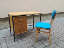 Retro csehszlovák fémvázas műhely asztal fiókos minimál mid century retro vintage loft ipari gyári