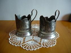Orosz ezüstözött pohártartók 2 db